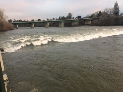 "The release of so much water from Shasta Dam has resulted in this ""standing wave"" at the ACID diversion dam located in Caldwell Park in central Redding. Photo courtesy of Drew Cole."