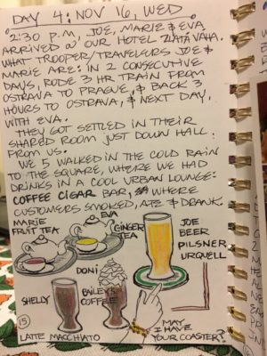 Every restaurant, every meal, every piece of pizza or scoop of gelato was documented in Shelly's art travel journal.