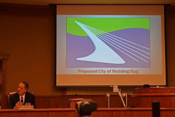 Deputy City Manager Greg Clark with the proposed new flag design.