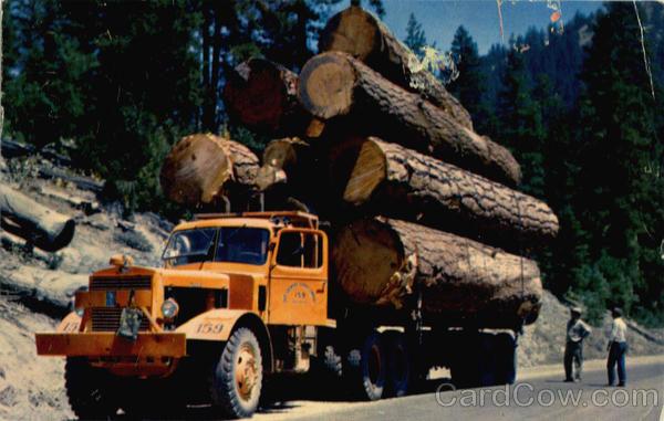 Logging truck outside Westwood circa 1958. Courtesy of www.cardcow.com.