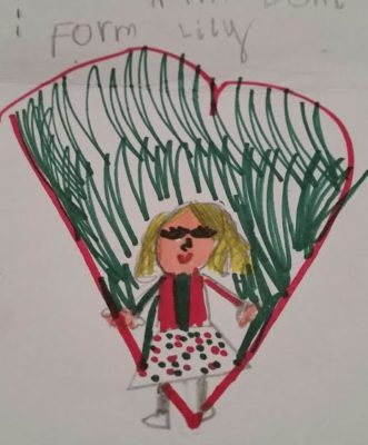 This love-filled portrait of Doni was drawn by grand niece Lily, 7.
