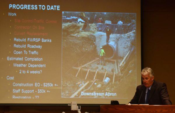 Public Works Director Brian Crane updates council on flood damage repairs.