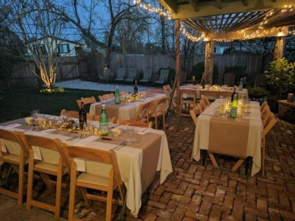 The patio was the site of the rehearsal dinner for Erin and Aaron's wedding.