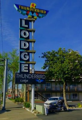The Thunderbird Lodge is an iconic downtown Redding fixture. Photo by Joe Domke.