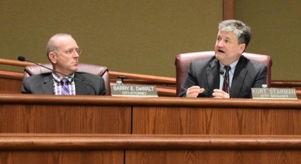 City Attorney Barry DeWalt, left, and City Manager Kurt Starman.