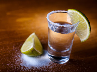 Tequila shot, salt and lime