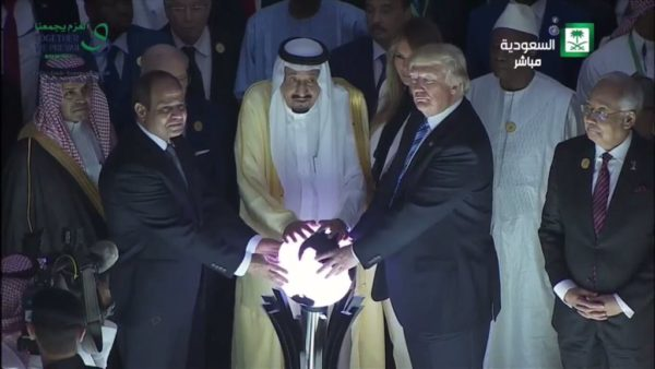 WTF is this?! Trump channels Andrew Carnegie during his visit to Saudi Arabia last month. Photo via Twitter.