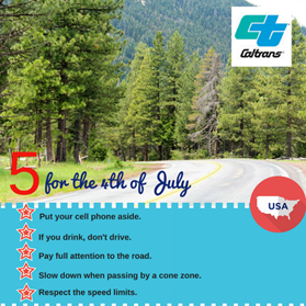 CalTrans 5 for 4th of July