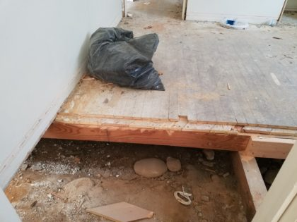 This bedroom floor suffered some serious cutting.