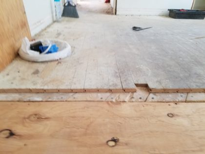 This bedroom floor is 3/4 of an inch thick, unlike the living room and dining room, which is 1/2 inch thick.