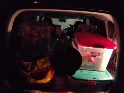 Doni's car was packed up for her final departure at midnight.