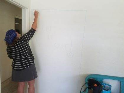 Shelly Shively sketched out ideas on existing walls.