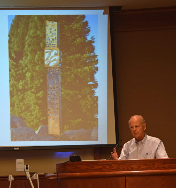 "Jim Phillips gave a brief presentation on his donated ""Cloud Column"" sculpture. Photo by Jon Lewis."