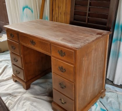 This old desk will be a kitchen vanity that holds a tiny bar sink.