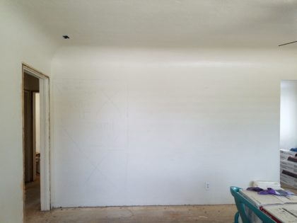 Look carefully and you can see the markings that show where the wall will be altered.