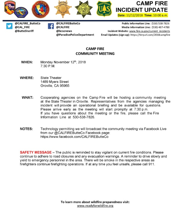 Camp Fire Updates November 12, 6:52 PM – Death Toll Now 42