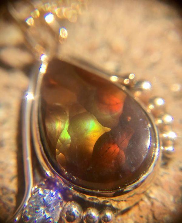 Fire agate and diamond pendant Janine Hall