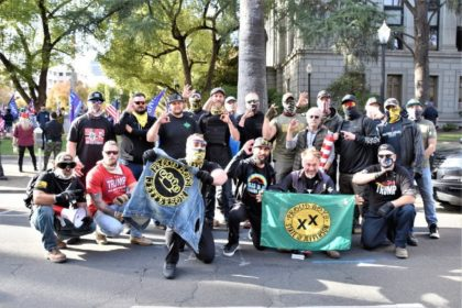 More State of Jefferson Proud Boys with others in front of the State Capitol