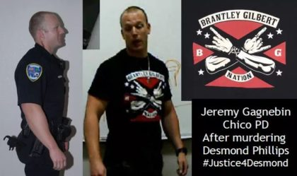 Officer Jeremy Gagnebin smiling in a photo directly after Desmond Phillips was killed and the shirt he changed into before being question by law enforcement officials