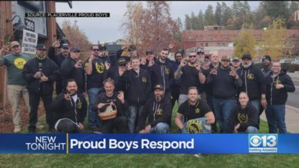 Photograph of the Proud Boys at the Toys for Tots event in Placerville